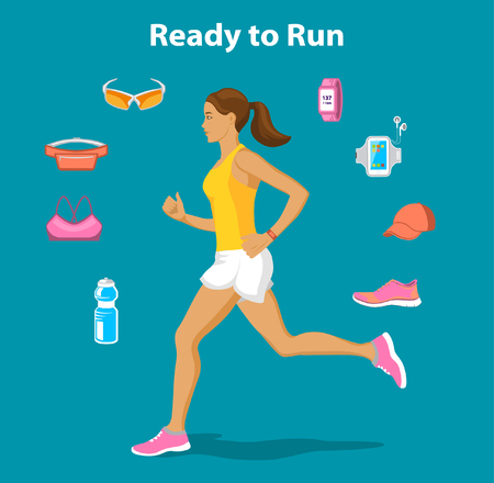 watch out: Ready to run Vector Illustration. Running Gear for Women. Running accessories and Gadgets For Outdoor Cardio Work Out. Belt bag, sport glasses, sport clothes, fitness bottle, armband, cap, fitness shoes, GPS watch. Running Woman Illustration