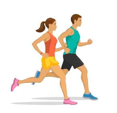 Running Man and Woman.  Jogging Couple. Illustration