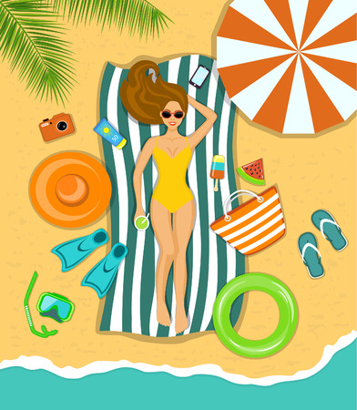 Woman sunbathing on a beach under the tropical palms with  accessories for beach as umbrella, flip flops, sunscreen, striped beach towel, hat, flippers, paddles, snorkeling mask, float, bag, ice cream, watermelon, telephone, camera