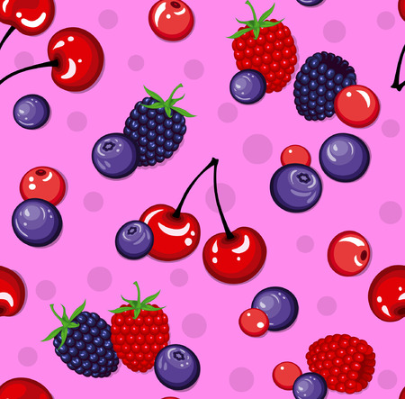 blackberry: Seamless Pattern with  Berries. Blackberry,Cherry, Raspberry, Blueberry Seamless Texture