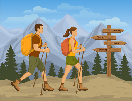 couple hiking: Couple Trekking in Mountains. Man and Woman Hiking