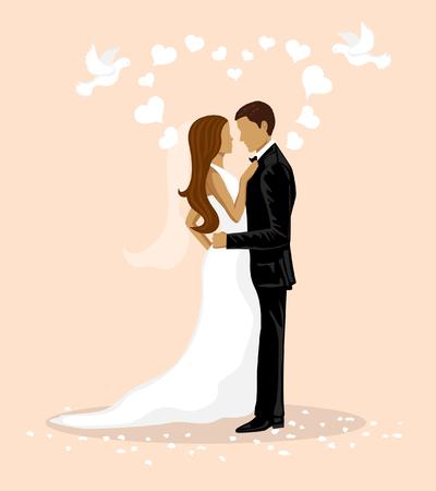 Pares de la boda ilustración vectorial. La novia y el novio de tarjetas de boda de diseño. La tarjeta de fecha.