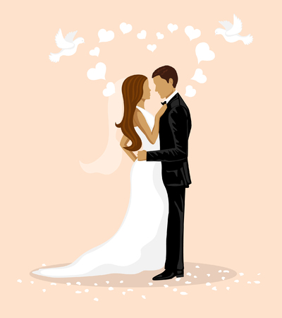couple date: Wedding Couple Vector Illustration. Bride and Groom for Wedding Cards Design. Save the Date card.