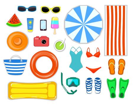 sun cream: Beach Accessories top flat lay view  vector illustration . Striped towel, umbrella, flip flops, flippers, float ring, snorkeling mask, beach bag, sunglasses, sun cream, hat, camera, telephone, cocktail, ice cream, watermelon, inflatable mattress ets