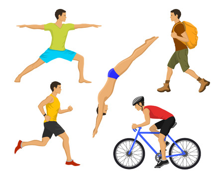 outdoor activities: Outdoor Activities for Man. Healthy Active Lifestyle. Man Swimming, Trekking, Running, Jogging, Cycling, Doing Yoga Illustration