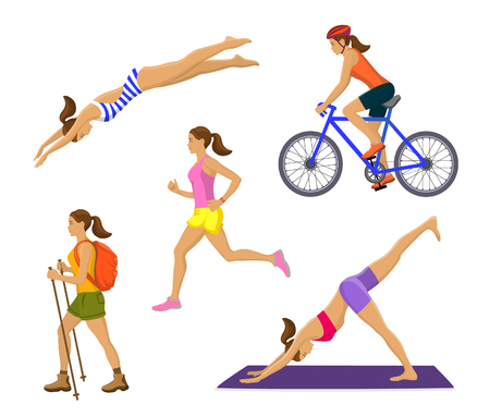 runner up: Outdoor Activities for Woman. Healthy Active Lifestyle. Woman Swimming, Trekking, Running, Jogging, Cycling, Doing Yoga
