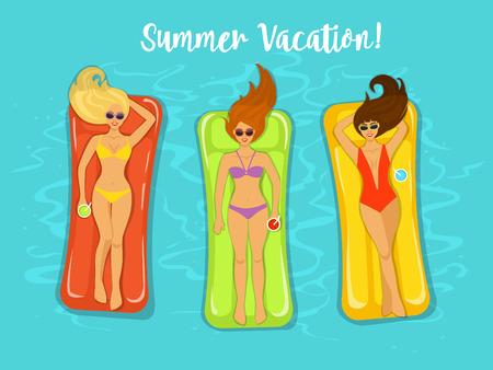 girlfriends: three girlfriends having fun in pool. girls swimming on inflatable mattresses, enjoying summer vacation