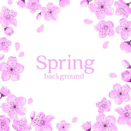temlate: Cherry Blossom Frame Greeting Card. Spring Floral Border Background