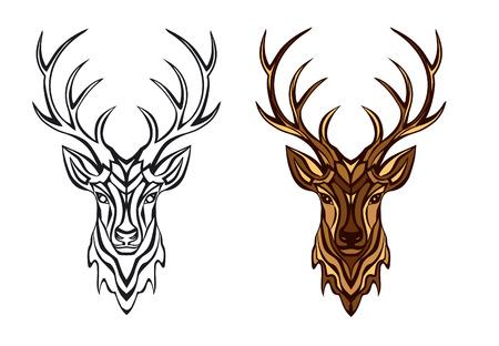 Deer Head Vector Illustration in Black and Color