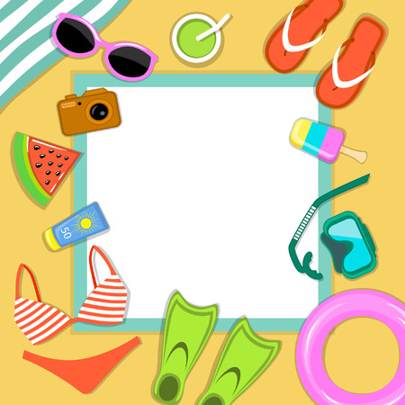 sun glasses: Beach Accessories top flat lay view greeting card vector illustration . Striped towel,  flip flops, flippers, float ring, snorkeling mask,  sun glasses, sun cream, hat, camera, cocktail, ice cream, watermelon, inflatable float ring ets. Place for Text Illustration