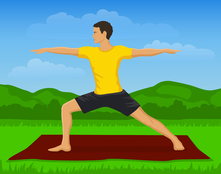 yoga outside: Man doing Yoga Exercise Outdoor Vector Illustration. Yoga Warrior Pose. Yoga Class Outside