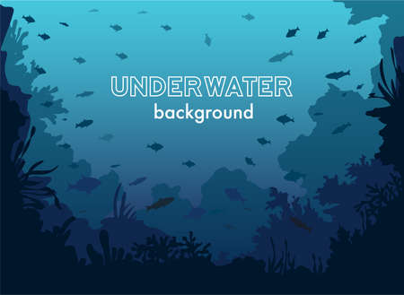 underwater fishes: Underwater Background with Fishes and Sea plants and Corals Illustration