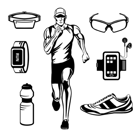 cardio workout: Running Man Vector Illustration. Running Gear. Accessories for Run for Outdoor Cardio Workout. Illustration