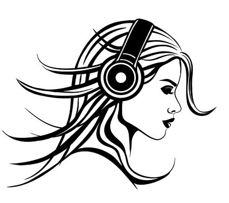 Chica con ilustración vectorial Auriculares