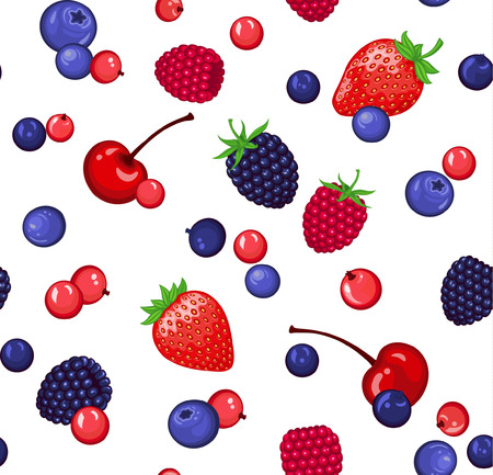 red currant: Seamless Pattern with  Berries. Strawberry, Blackberry, Cherry, Raspberry, Blueberry, Redcurrant (red currant) Seamless Texture