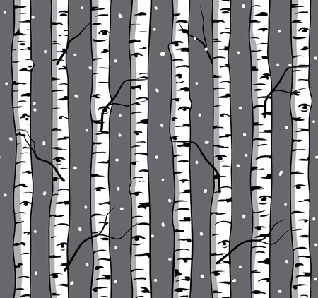 Seamless pattern with Birches. Background with Trees. Birch Forest.