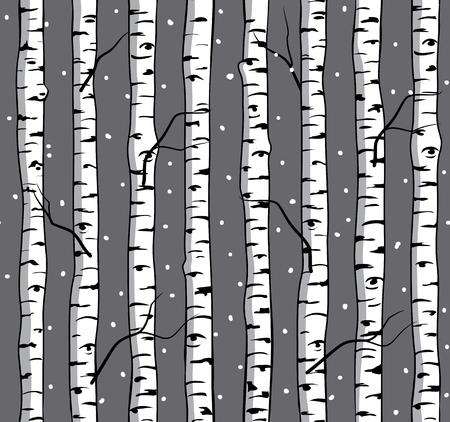 arboles blanco y negro: sin patrón, con abedules. Fondo con los árboles. Bosque del abedul.