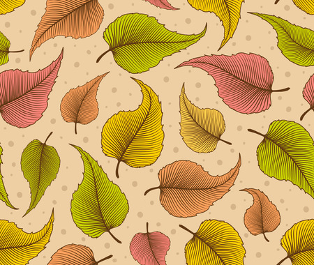 birch leaf: Decorative Seamless Pattern with Leaves. Birch leaf repeatable background. Foliage texture