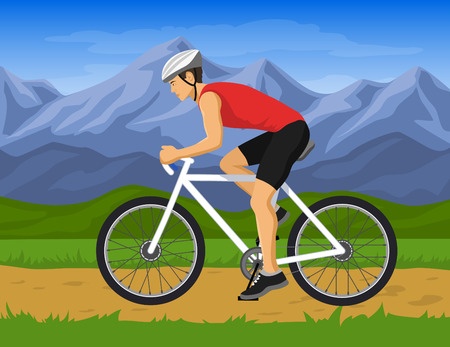 Man rijdt mountainbike vector illustration.Outdoor activiteit. Man fietser mountainbiken Stock Illustratie