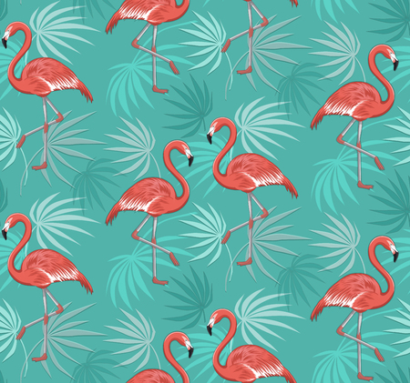 Seamless Pattern with Flamingo Birds and Leaves Illustration