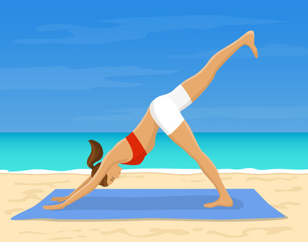 facing: Woman doing Yoga Exercise at the beach Vector Illustration. Yoga Downward Facing Dog Leg Up Pose. Yoga Work Out Outdoor
