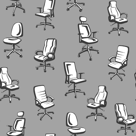 furniture design: Monochrome Office Chairs Seamless Pattern. Seamless Texture with Different Types of Executive Armchairs.