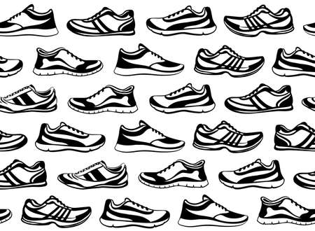 sport shoes: Sport Shoes Seamless Pattern. Fitness Shoes Texture. Indoor, Outdoor, Running, Fitness, Tennis, Walking, Training Sport Sneakers.