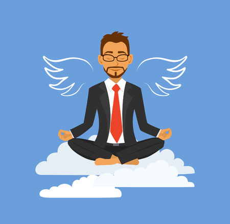 Businessman makes a break in the office, relaxing, meditating,  feels like flying. No stress at work