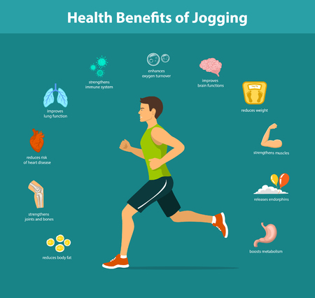 Man Running Vector Illustration. Benefits of Jogging Exercise infographics. Human Health Objects. Vettoriali