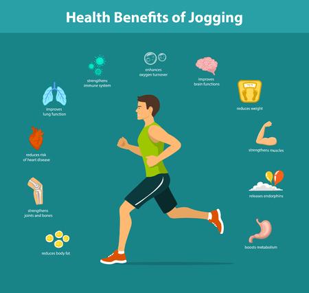Running Man Vector Illustration. Avantages d'infographies Jogging exercice. Objets de la santé humaine.