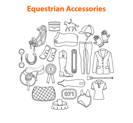 Equestrian Sport Equipment Accessories Illustration