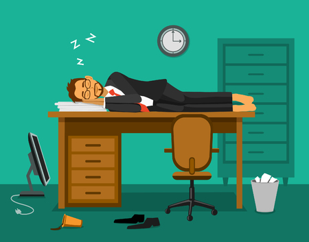 Burnout in the office. Exhausted employee sleeping on a work desk in the office. Humor office life vector illustration