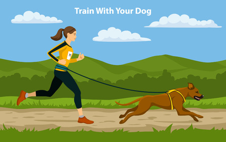 cross country: Canicross Sport Cross Country Training. Woman running with her dog Rhodesian Ridgeback outdoor.