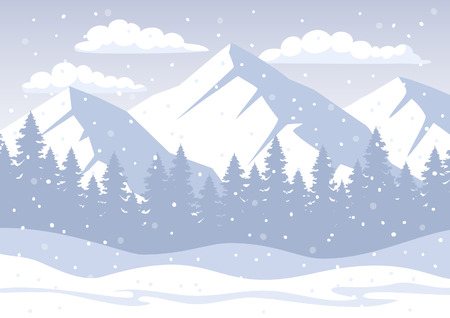 White Christmas Winter Background with rocky mountains, pine forest, snow hills, snowflakes