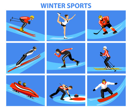Winter Ice Snow Sports Set including cross country, freestyle skiiing, sowboarding, speed skating, sliding, bobsled, ski jumping, curling and figure skating. Male and female sportsman Illustration