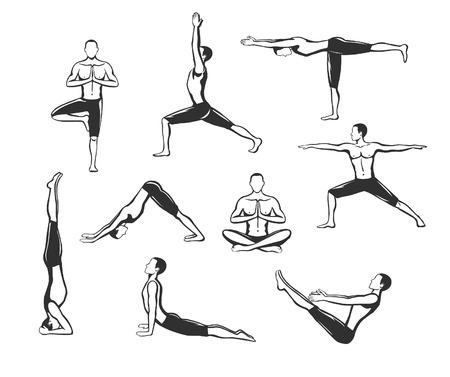 Yoga Workout. Silhouetten van een man in Boom, Sirsasana, Boot, Warrior één, twee, drie, naar beneden en naar boven kijkende hond, lotus Poses.