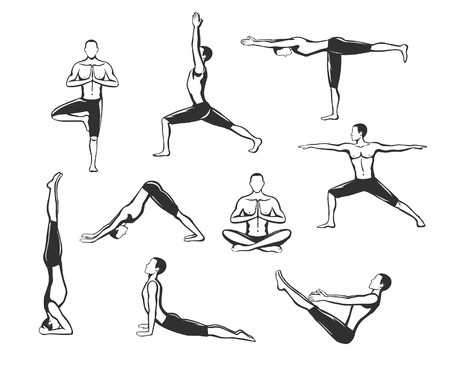 Yoga Workout. Silhouettes of a Man in Tree, Sirsasana, Boat, Warrior one, two, three, downwards and upwards facing dog, lotus Poses.