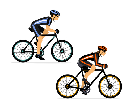 Cyclist couple, man and woman riding sport bike isolated vector illustration