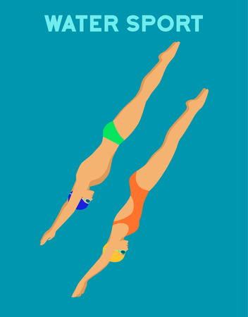 Woman and Man Diving into pool. Water sports Illustration