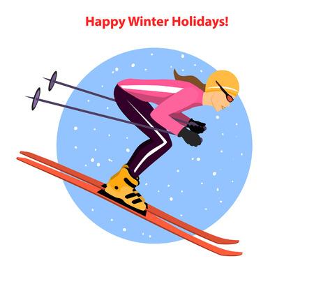 Vrouw skiën bergafwaarts. Wintersport activiteit vectorillustratie Vector Illustratie