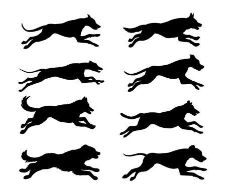 Cani in esecuzione silhouette illustrazione vettoriale Archivio Fotografico - 66012669
