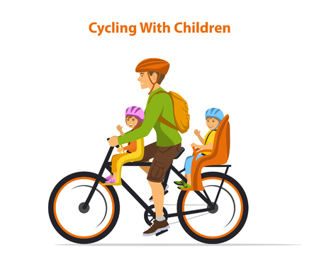 Man cycling with his children, boy and girl. Kids sitting on bike safe seats in front and back