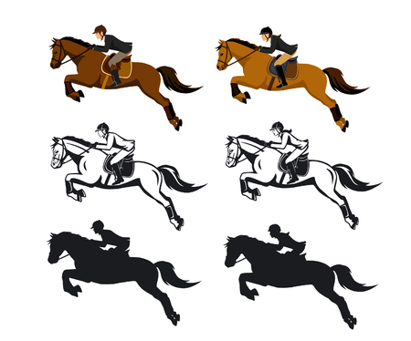 Homem e mulher de equitação Jumping Set Cavalo em cores, silhueta e Contorno. Ilustração Vetor isolado Ilustração