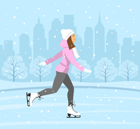 winter scene: Young Woman Skating on Ice rink . Cityscape landscape background scene. Winter Fun Sport Activities Vector Illustration