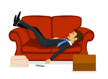 Tired Exhausted Office Employee Sleeping on Sofa after work