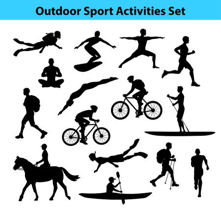 Entrenamiento al aire libre actividades deportivas. Silueta masculina. Hombre de la natación, senderismo, correr, ciclismo, hacer yoga, senderismo, buceo, kayak, stand up paddle, surf, buceo, snorkel, Hípica Ilustración de vector