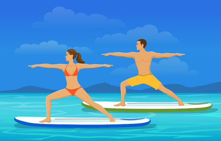 Woman and Man doing Stand Up Paddling Yoga on Paddle Board at Seaside, SUP Yoga Excersise on Water Illustration