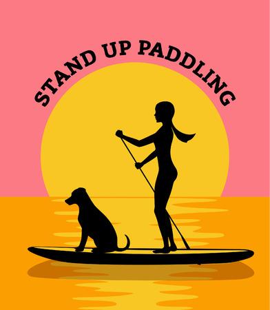 スタンド アップ パドル ボード夕日ベクトル図。女性と犬のシルエット