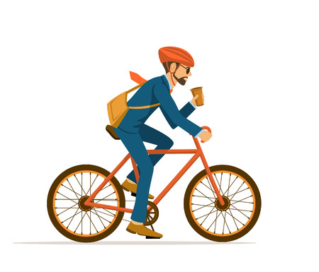 Cool Male Businessman  riding bicycle to office, drinking coffee on the way. Eco friendly trendy city bike to work. Isolated Illustration