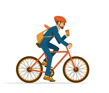 Uomo d'affari freddo maschio che guida bicicletta in ufficio, bere il caffè sulla strada. Eco moto alla moda e alla moda per lavorare. Isolato Vettoriali